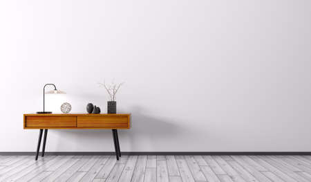 Foto de Interior background of living room with wooden side table over white wall 3d render - Imagen libre de derechos