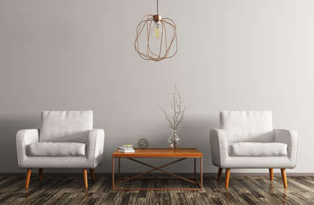 Photo pour Interior of living room with coffee table, white armchairs and copper lamp 3d rendering - image libre de droit