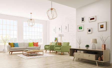 Foto de Modern interior of living room with sofa, armchairs, scandinavian style 3d rendering - Imagen libre de derechos
