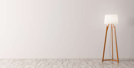 Foto de Modern interior of empty room background with wooden floor lamp 3d rendering - Imagen libre de derechos