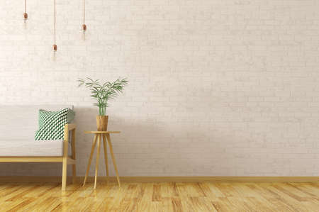 Photo pour Interior of living room with plant on the wooden table and  grey sofa over brick wall, scandinavian style, 3d rendering - image libre de droit