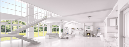 Photo pour Interior of white living room, dining room, lounge area with fireplace, panorama 3d rendering - image libre de droit