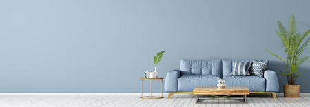 Photo for Interior of living room with blue sofa on the white hardwood floor, coffee table and palm, panorama 3d rendering - Royalty Free Image