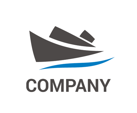 boat sail over sea water in journey flat design style logo illustration