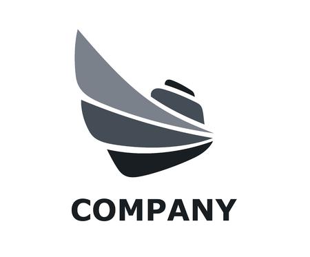 Ilustración de logistic travel ship for shipping import export trade sail over ocean flat design style logo illustration with black grey color - Imagen libre de derechos