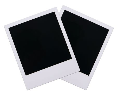 Two old polaroid film blanks isolated on white background