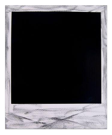 One single old ink distressed polaroid film blank