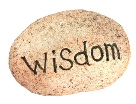 The word wisdom written on a rock for a garden