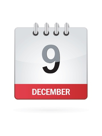 Ninth In December Calendar Icon On White Background