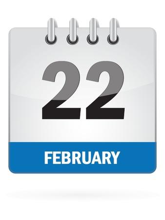 Twenty-Second In February Calendar Icon On White Background