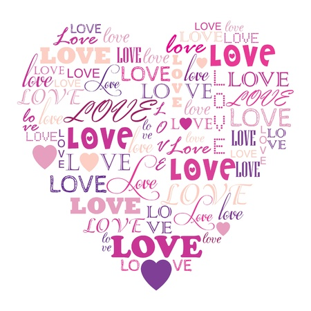 Illustration for Love in word collage composed in heart shape - Royalty Free Image