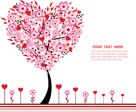 Valentine tree vector and flowers, heart shape, space for text