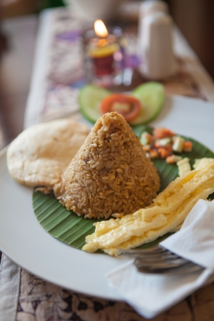 Indonesian traditional breakfast; Nasi Goreng or Fried Rice