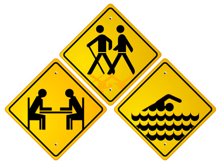 trekking, swimmer, relax sign