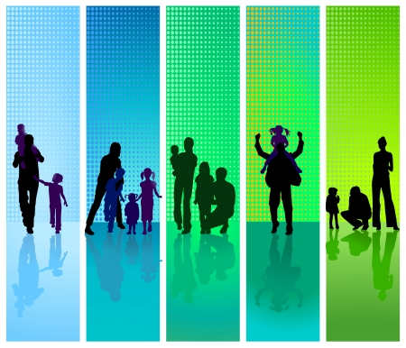 Photo for families on blue and green background - Royalty Free Image