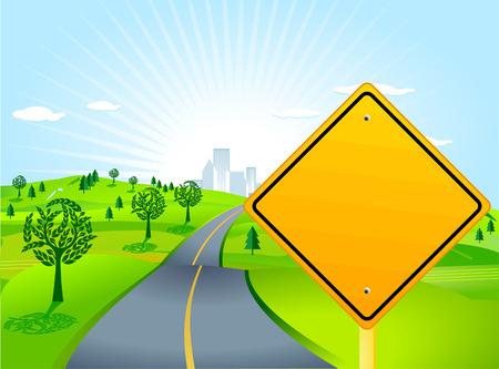 Illustration pour scenery with road sign - image libre de droit