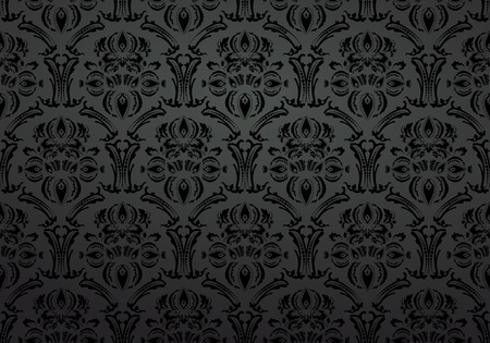 Textile wallpaper ornament black background