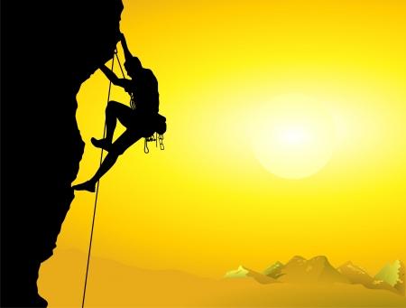 Illustration pour mountain climber on a mountain wall - image libre de droit