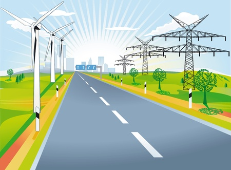Country road with windmills and power poles