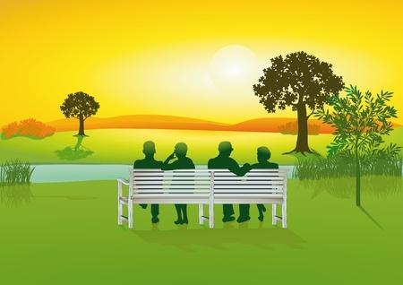 Illustration pour Seniors on park bench - image libre de droit