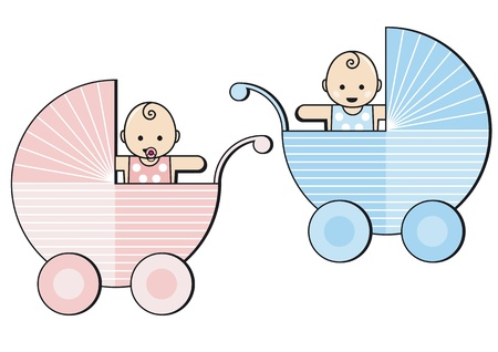 Photo for two babies in strollers - Royalty Free Image