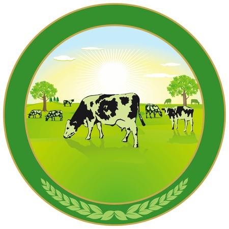 Ilustración de Dairy farming Label - Imagen libre de derechos
