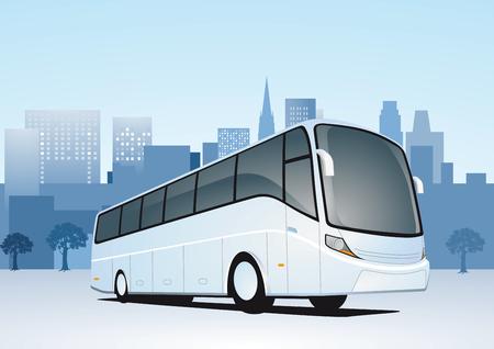 Illustration pour City Travel by bus - image libre de droit