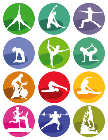 Gym and fitness figures on a white background