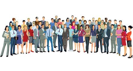 Illustration pour Large Group Of People standing together - image libre de droit