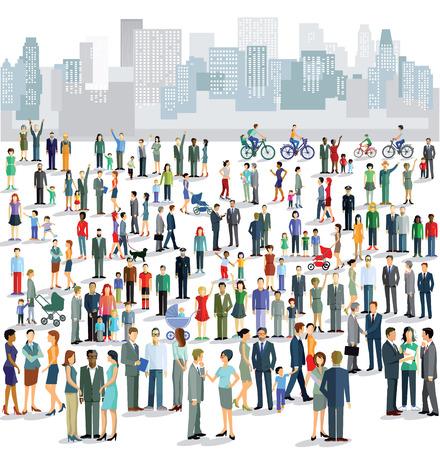 Ilustración de Groups of townspeople - Imagen libre de derechos