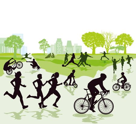 Illustration pour People in leisure time and sports - image libre de droit