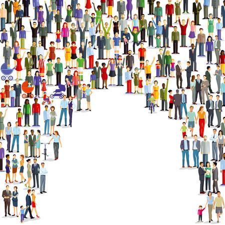 Illustration pour Large group of people and crowd - image libre de droit