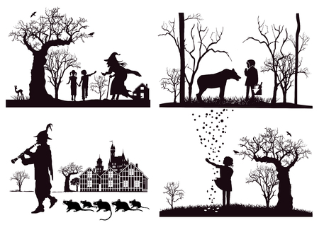Illustration for Fairy tales, Hansel and Gretel, Little Red Riding Hood, Pied Piper - Royalty Free Image