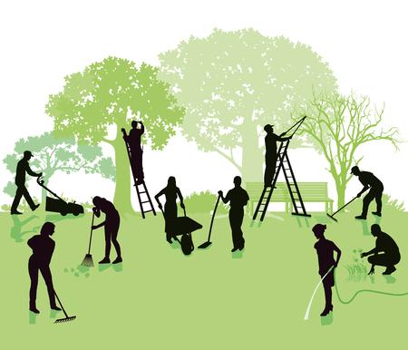 Illustration pour Gardening, garden with gardeners - image libre de droit