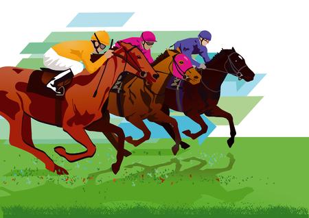 Ilustración de Jockeys with race horses on the racetrack - Imagen libre de derechos