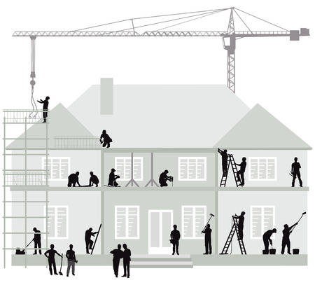 Illustration for Construction site with construction workers, excavator and crane - Royalty Free Image