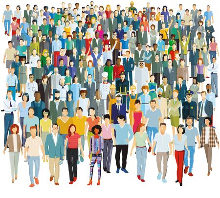 Illustration for Large group of people - vector illustration - Royalty Free Image