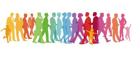Illustration pour Colorful large group of people - vector illustration - image libre de droit