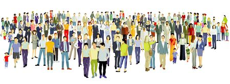 Illustration for Large group of people on white background. ? Vector illustration - Royalty Free Image