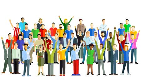 Illustration pour Cheerful group of people in the community - vector illustration - image libre de droit