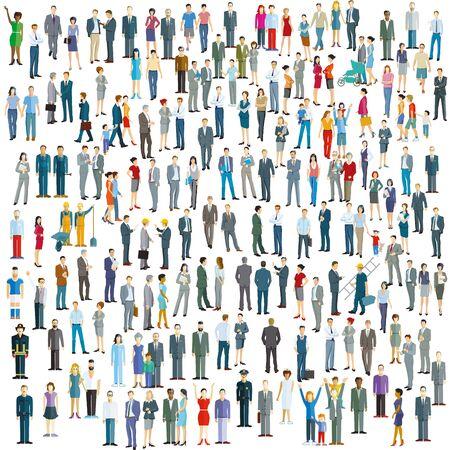 Illustration for Large crowd on white background. Vector illustration - Royalty Free Image