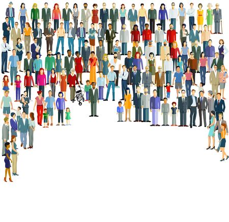 Illustration for Groups and crowds on a place - Royalty Free Image