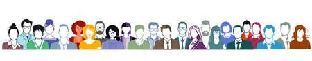Illustration pour Group of people portrait, faces on white background. - image libre de droit