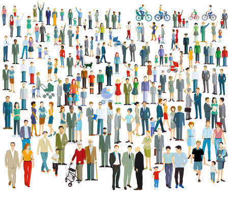Illustration for large crowd of different people - Royalty Free Image