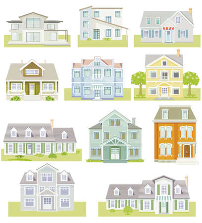 Photo pour Set of houses and apartment houses, country houses, wooden houses, family houses, illustration - image libre de droit