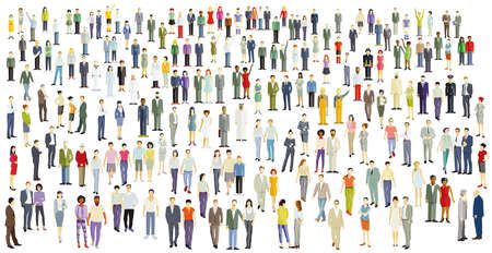 Illustration for Large crowd, group of people isolated on white, illustration - Royalty Free Image