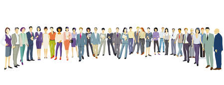 Illustration for Diverse business people stand together - Royalty Free Image