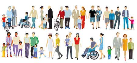 Illustration pour Set of different families, parents and children, generations isolated on white - image libre de droit