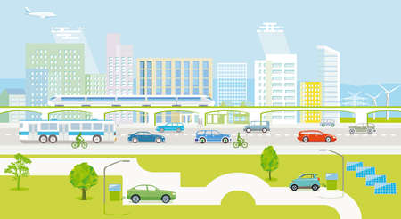 Illustration for Ecological city with electric vehicles and passenger train - Royalty Free Image