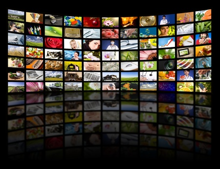 Photo pour LCD TV panels. Television production technology concept.  - image libre de droit